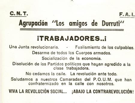Tract des Amis de Durruti distribué sur les barricades de Barcelone en mai 1937