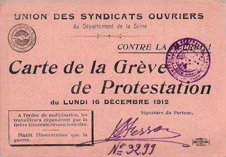 Grève générale contre la guerre organisée par la CGT le 16 décembre 1912