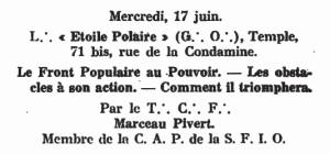 Franc-maçonnerie et Front Populaire