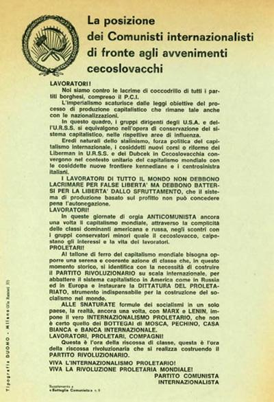 """La posizione dei comunisti internazionalisti di fronte agli avvenimenti cecoslovacchi. Suppl. di """"Battaglia comunista"""" N°9, 1968"""