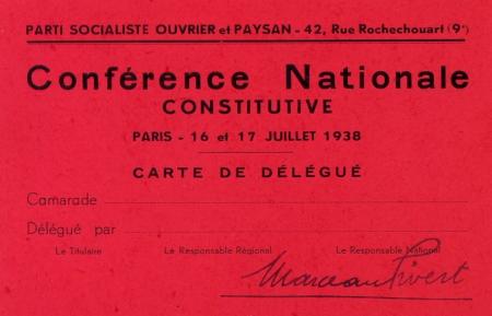 Carte de délégué du PSOP (1938)