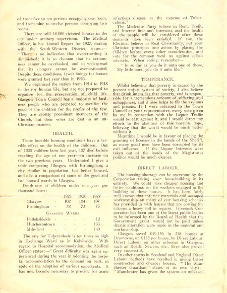 Election address of John McGovern, Labour candidate for North Kelvin ward 6-11-1928-2