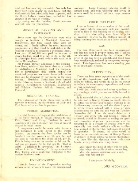 Election address of John McGovern, Labour candidate for North Kelvin ward 6-11-1928-3