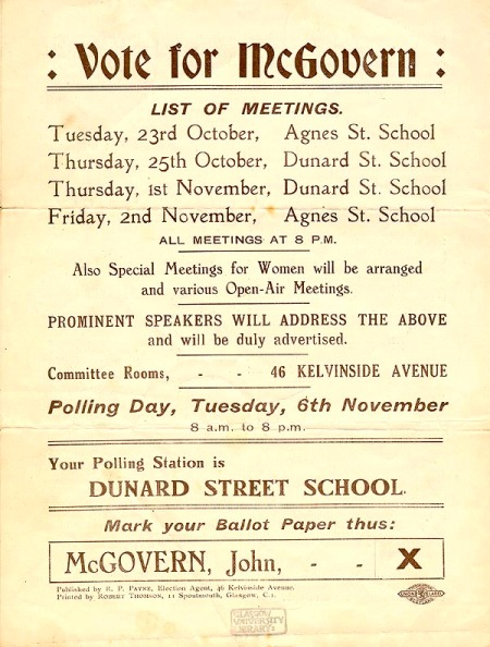 Election address of John McGovern, Labour candidate for North Kelvin ward 6-11-1928-4