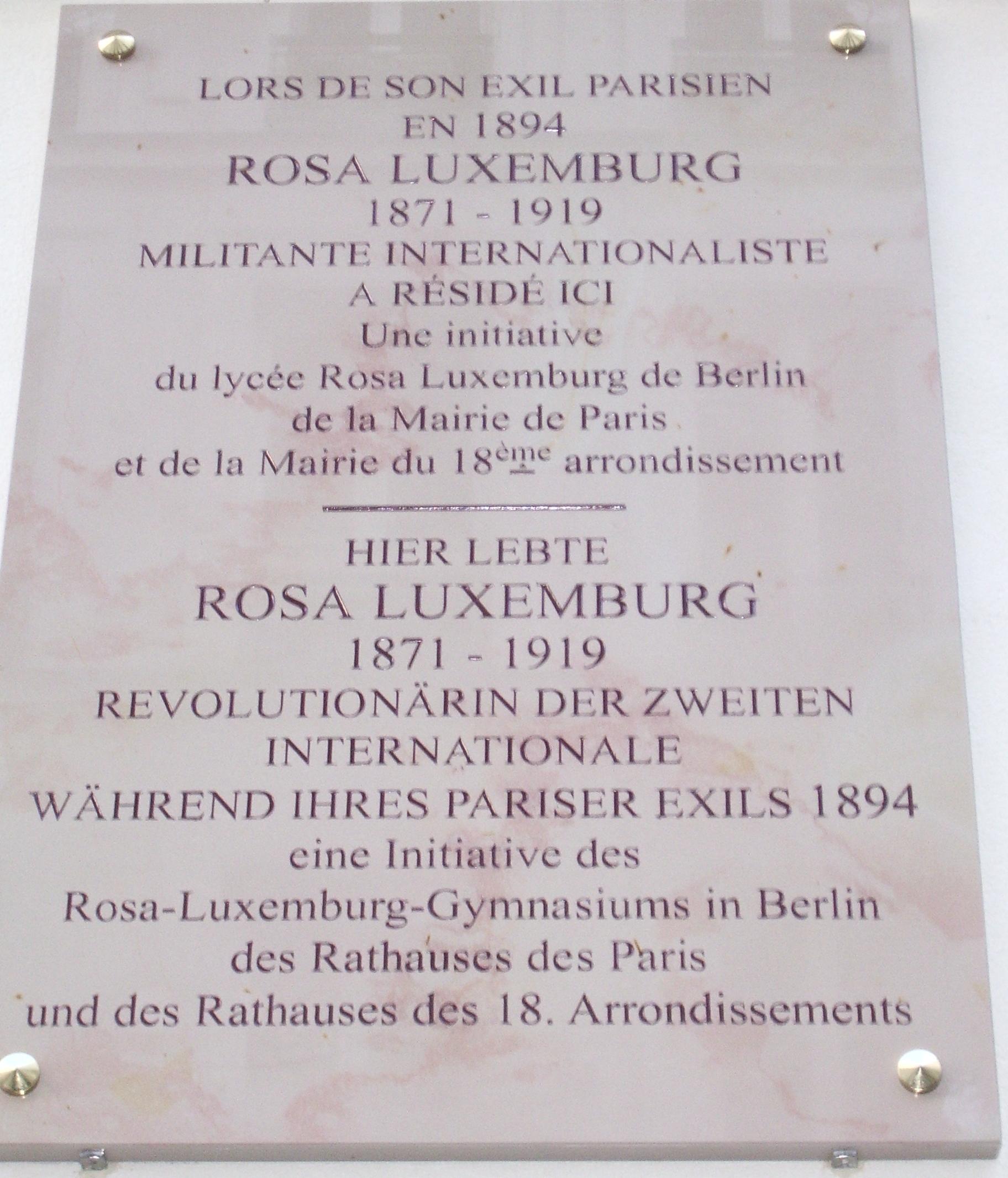 Plaque en hommage à Rosa Luxemburg