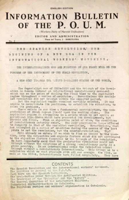 - 'Information Bulletin of the POUM' N°1-1