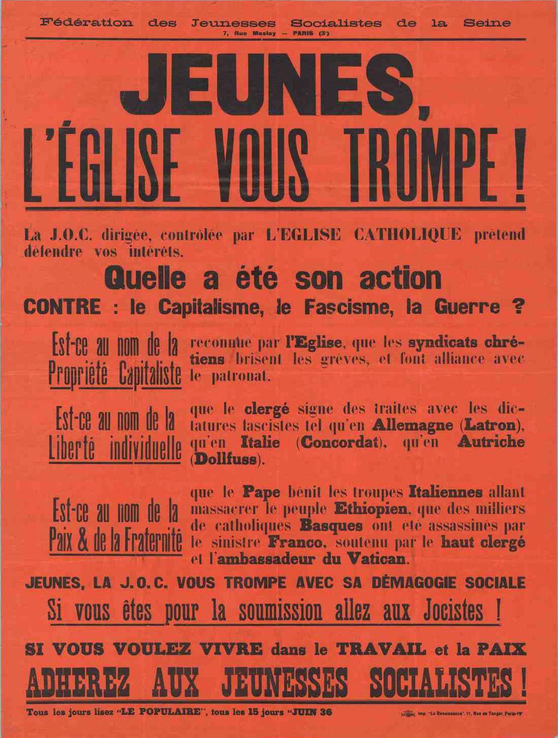 Affiche Contre La J O C 1936 La Bataille Socialiste