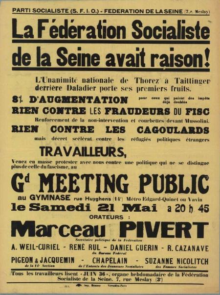 Pivert - meeting 1938