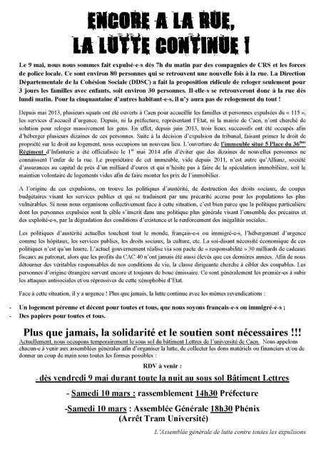 Expulsion 5 place inf - 9 mai 2014