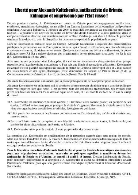 2015 - 3 - 10 -Liberté pour Kolt